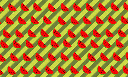 Fruit background with watermelon slice in doodle style on green stripes background. Design for your wallpaper, textile. Vettoriali