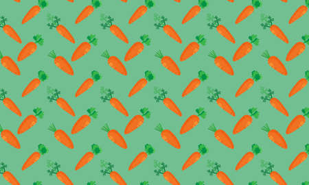 Fresh carrot vegetable in seamless pattern on green background. Pattern can be used for websites. 版權商用圖片 - 159594941
