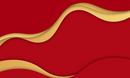 Red and gold wavy background. Template for ads of intellect, innovations.