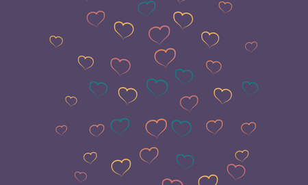 Colorful hearths in doodle style on purple background. Design for celebrating of Valentine Day..