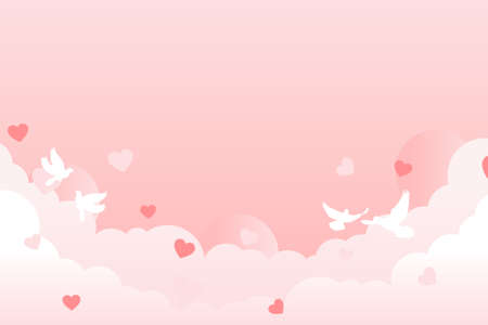 Pink valentine background design with cloud, heart and pigeon. Design for valentine day. Vector illustration.