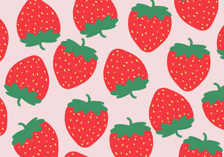 Seamless pattern with hand draw strawberry background. Vector illustration. Abstract background. Vetores