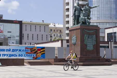 founders: Novorossiysk, Russia - 05 July, 2015: Monument to the founders of Novorossiysk Editorial