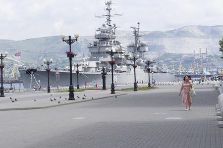 mikhail: Novorossiysk, Russia - 05 July, 2015: Museum Cruiser Mikhail Kutuzov in the area of forum in the city-hero Novorossiysk