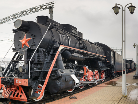 MOSCOW, RUSSIA - APRIL 07, 2017: Russian retro locomotive in steampunk style at the exhibition of railway transport in Moscow