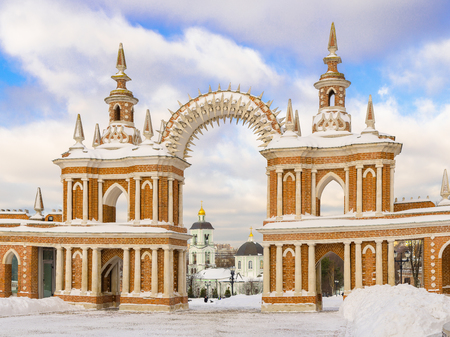 Moscow, Russia - January 18, 2017: Gallery with an arch in the park Tsaritsyno in Moscow. Architect Bazhenov.