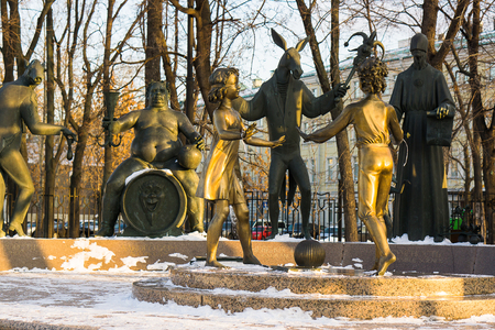 Moscow, Russia - January 30, 2017: Sculptural composition Children - victims of adult vices on Bolotnaya Square in Moscow