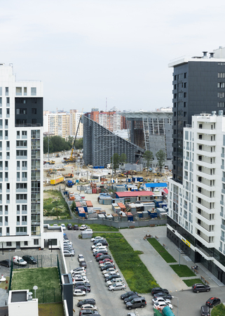 Yekaterinburg, Russia - August 01, 2017: View of the construction of a new stadium for the World Cup on football from an apartment building in Yekaterinburg Editorial
