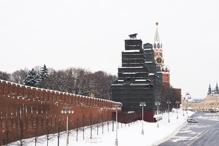 Moscow, Russia - February 08, 2018: Restoration of the Towers of the Moscow Kremlin in the Russian capital in Moscow Editorial