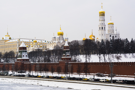 Moscow, Russia - February 08, 2018: Territory of the Moscow Kremlin with Orthodox cathedrals on the Kremlin embankment in winter Editorial