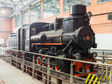 Yekaterinburg, Russia - 06 June, 2018: Retro locomotive in the hangar of the Mayakovsky recreation park in Yekaterinburg