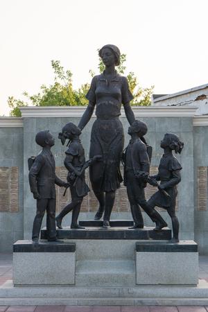 Orenburg, Russia - 26 August, 2018: Sculptural composition First Teacher in Orenburg in Russia