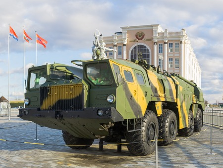 Verkhnyaya Pyshma, Russia - October 20, 2018: Self-propelled launcher of the tactical missile complex Elbrus exhibited in the museum of military equipment in Verkhnyaya Pyshma in Russia. Editorial