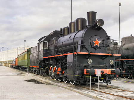 Verkhnyaya Pyshma, Russia - October 20, 2018: Retro steam engine Em exhibited in the museum of military equipment in the city of Verkhnyaya Pyshma in Russia