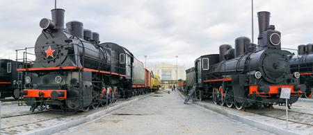 Verkhnyaya Pyshma, Russia - October 20, 2018: Exhibition of Soviet retro steam locomotives in the museum of military equipment in the city of Verkhnyaya Pyshma in Russia