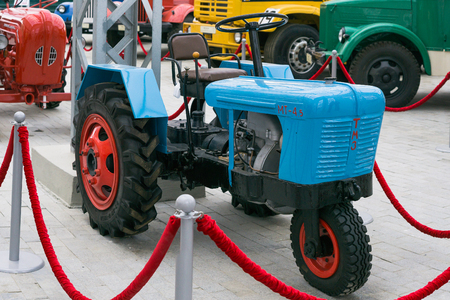 Verkhnyaya Pyshma, Russia - October 20, 2018: Mini tractor TMZ MT4.5 in the museum of automotive technology in Verkhnyaya Pyshma in Russia