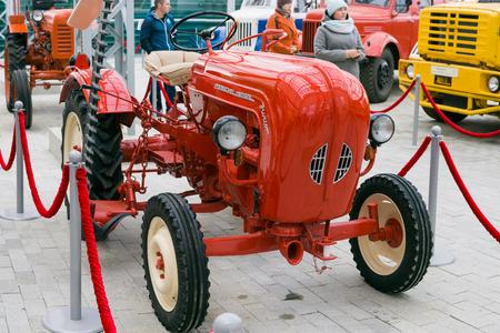 Verkhnyaya Pyshma, Russia - October 20, 2018: Mini tractor Porsche Diesel Junior at a retro exhibition in the museum of automobile equipment in the city of Verkhnyaya Pyshma in Russia Editorial