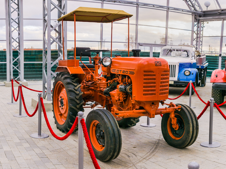 Verkhnyaya Pyshma, Russia - October 20, 2018: DT-20 tractor of the Kharkov Tractor Plant at the exhibition in the museum of automobile equipment in the city of Verkhnyaya Pyshma in Russia.
