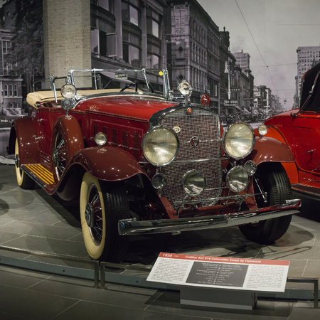 Verkhnyaya Pyshma, Russia - October 20, 2018: Old retro car Cadillac 452 V16 Convertible Coupe by Fleetwood in the museum of automobile equipment in the city of Verkhnyaya Pyshma in Russia