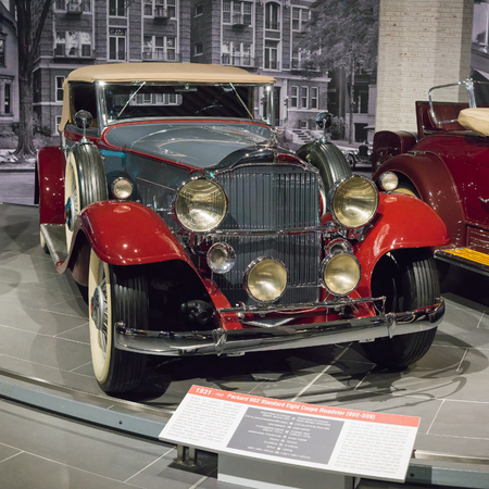 Verkhnyaya Pyshma, Russia - October 20, 2018: Old retro car Packard 902 Standard Eight Coupe Roadster in the museum of automobile equipment in the city of Verkhnyaya Pyshma in Russia Editorial