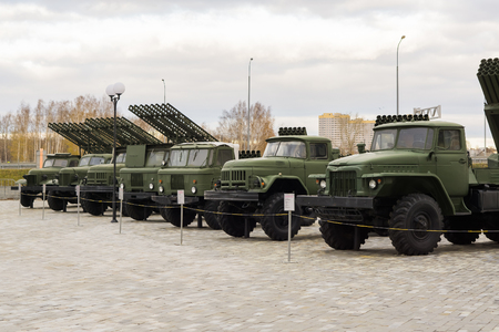 Verkhnyaya Pyshma, Russia - October 20, 2018: Military vehicles presented at an exhibition in the museum of military equipment in the open air in the city of Verkhnyaya Pyshma in Russia