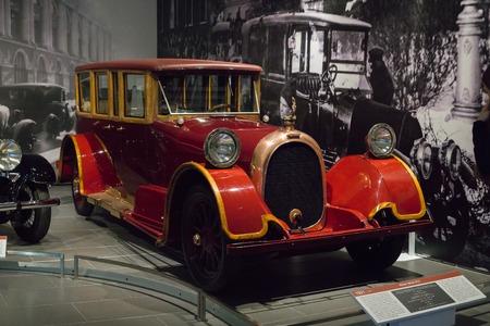 Verkhnyaya Pyshma, Russia - October 20, 2018: Old retro car Heine-Velox V12 in the museum of automobile equipment in the city of Verkhnyaya Pyshma in Russia