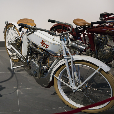 Verkhnyaya Pyshma, Russia - October 20, 2018: Retro motorcycle Thor Model U presented at an exhibition in the museum of automobile equipment in the city of Verkhnyaya Pyshma in Russia