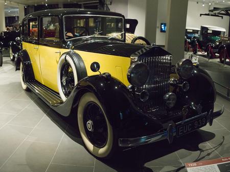 Verkhnyaya Pyshma, Russia - October 20, 2018: Old retro car Rolls-Royce 25 30 HP in the museum of automobile equipment in the city of Verkhnyaya Pyshma in Russia