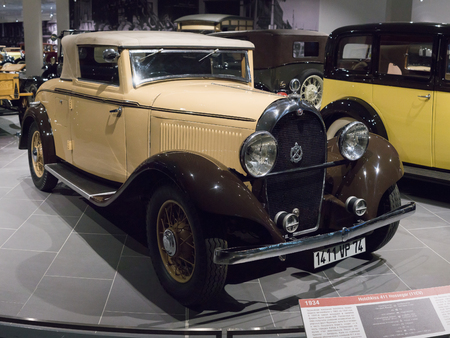 Verkhnyaya Pyshma, Russia - October 20, 2018: Old retro car Hotchkiss 411 Hossegor in the museum of automobile equipment in the city of Verkhnyaya Pyshma in Russia