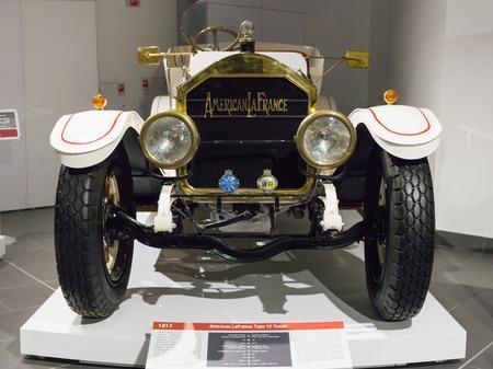 Verkhnyaya Pyshma, Russia - October 20, 2018: Old retro car American LaFrance Type 12 Tourer in the museum of automobile equipment in the city of Verkhnyaya Pyshma in Russia Editorial
