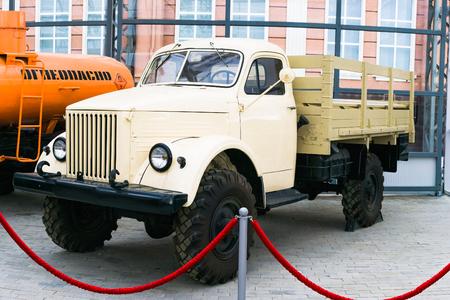 Verkhnyaya Pyshma, Russia - October 20, 2018: GAZ trucks at the exhibition in the Automotive Museum in the city of Verkhnyaya Pyshma in Russia Editorial