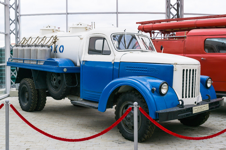 Verkhnyaya Pyshma, Russia - October 20, 2018: Old truck UralZIS 355M at the exhibition of retro cars in the city of Verkhnyaya Pyshma in Russia
