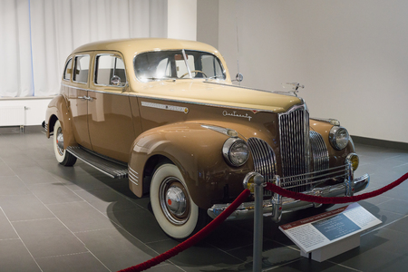 Verkhnyaya Pyshma, Russia - October 20, 2018: Old retro car Packard One Twenty Model 1901 Touring Sedan in the museum of automobile equipment in the city of Verkhnyaya Pyshma in Russia