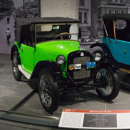 Verkhnyaya Pyshma, Russia - October 20, 2018: Old retro car BMW Dixi DA1 in the museum of automobile equipment in the city of Verkhnyaya Pyshma in Russia Editorial