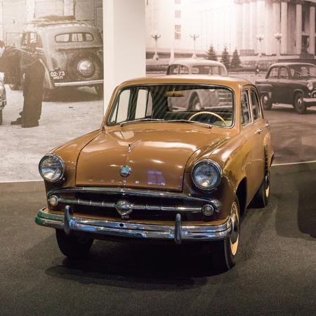 Verkhnyaya Pyshma, Russia - October 20, 2018: Old retro car Moskvitch 402 in the museum of automobile equipment in the city of Verkhnyaya Pyshma in Russia