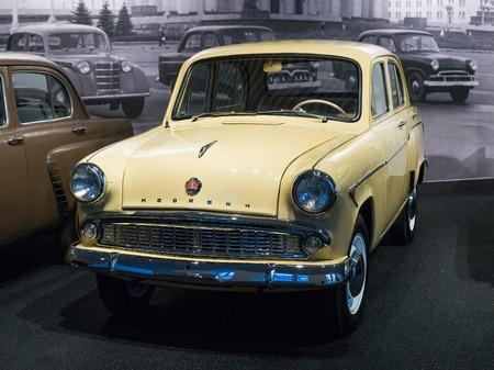 Verkhnyaya Pyshma, Russia - October 20, 2018: Old retro car Moskvitch 407 in the museum of automobile equipment in the city of Verkhnyaya Pyshma in Russia