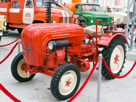 Verkhnyaya Pyshma, Russia - October 20, 2018: Retro tractor Porsche Diesel Junior at a retro exhibition in the museum of automobile equipment in the city of Verkhnyaya Pyshma in Russia