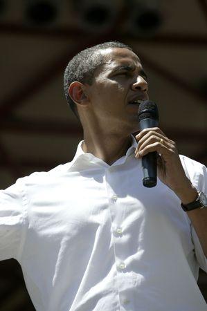 Reno, Nevada - Juni 2007: Barak Obama geben eine Kampagne Rede w�hrend einer Rlly in Reno, Nevada.