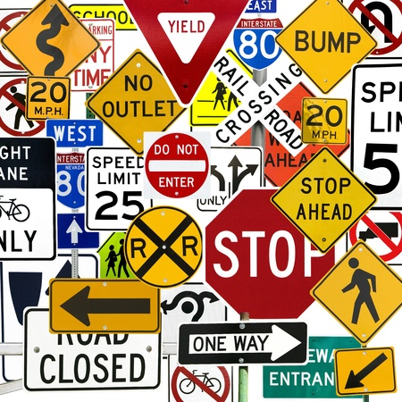 traffic control: Montage of Numerous Traffic Control Signs and Signals