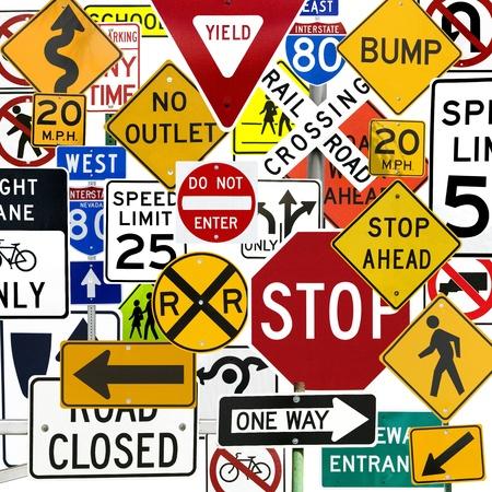 señales de transito: Montaje de numerosas señales de Control de tráfico y señales