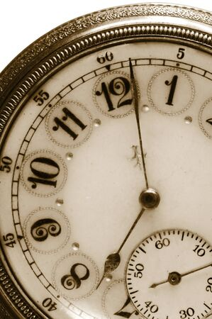 100 Year old antique pocket watch in Sepia Color photo