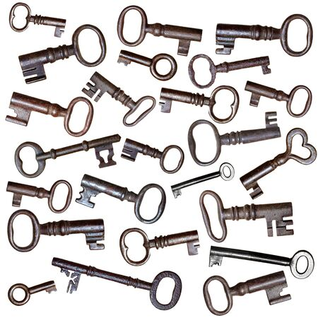 antique keys: A montage of old, antique cast iron keys. Stock Photo