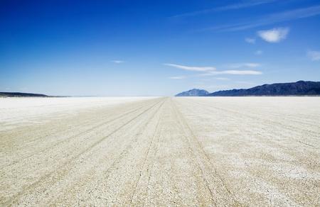 Playa of the Black Rock Desert east of Gerlach Nevada showing vehicle track marks.