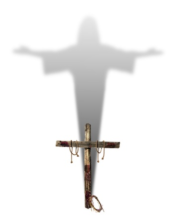 jesus on the cross: An empty bloody cross casting the shadow of Jesus Christ representing the hope of salvation for Christians. Stock Photo