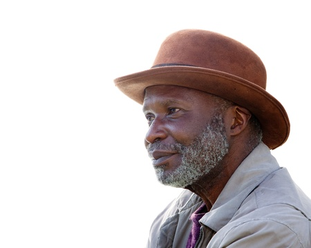 hobo: A homeless African-American man in Southern California isolated on white.