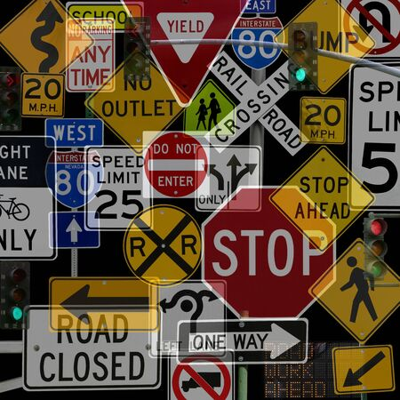 junctions: Montage of Numerous Traffic Control Signs and Signals