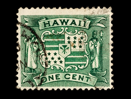REPUBLIC OF HAWAII - CIRCA 1893- 1894: Postage stamp from the Republic of Hawaii depicting the Hawaiian Republic coat of arms, circa 1893 - 1894.