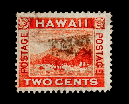 postage stamp: REPUBLIC OF HAWAII - CIRCA 1893- 1894:  Postage stamp from the Republic of Hawaii depicting the port of Honolulu, circa 1893 - 1894