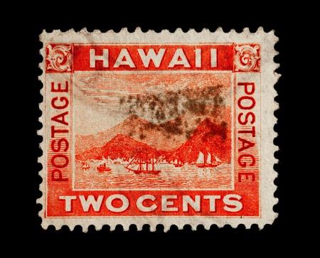 Republik Hawaii - CIRCA 1893 - 1894: Briefmarke aus der Republik Hawaii Darstellung der Hafen von Honolulu, circa 1893 - 1894