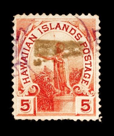 REPUBLIC OF HAWAII - CIRCA 1893- 1894: a postage stamp depicting a statue of King Kamehameha, circa 1893 - 1994 Stock Photo - 11700373